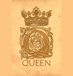 Ornate letter q with crown vintage monogram vector