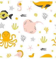 pattern with sea animals on white background vector image