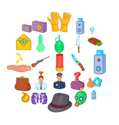 perpetration icons set cartoon style vector image