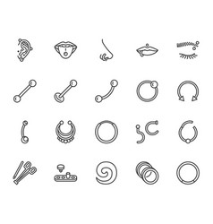 Piercing flat line icons set body jewelry nose vector