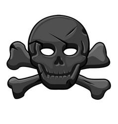 pirate black mark skull with cross bones vector image