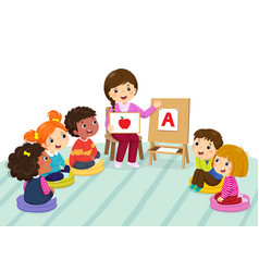 Preschool kids and teacher sitting on the floor vector