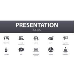 Presentation simple concept icons set contains vector