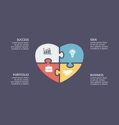 Puzzle heart love valentine infographic vector