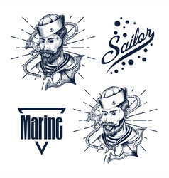 sailor man hand draw vector image
