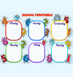School timetable week schedule cartoon numbers vector