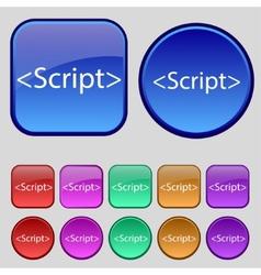 Script sign icon Javascript code symbol Set of vector