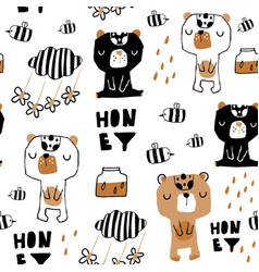 seamless childish pattern with cute bears honey vector image