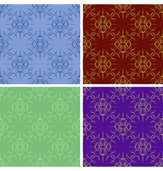 seamless colored outlines pattern set vector image