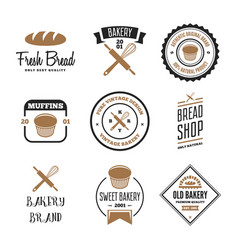 Set bakery and bread logos labels badges or vector