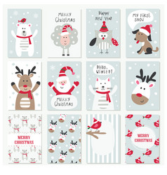 Set christmas and new year cards vector