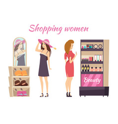 shopping women wearing hats makeup stall vector image