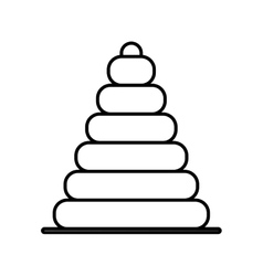 Silhouette pyramid toy flat icon vector