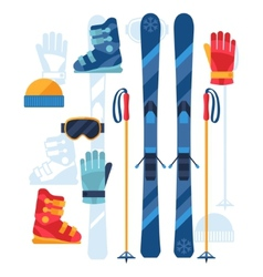 Skiing equipment icons set in flat design style vector image