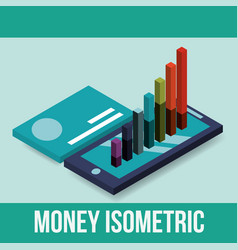 smartphone and statistics graph credit card money vector image