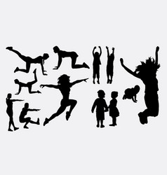 sport woman training silhouette vector image