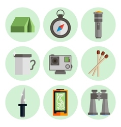 Survival kit flat icons set vector