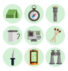 Survival kit flat icons set vector image