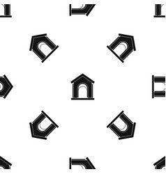 toy house pattern seamless black vector image vector image