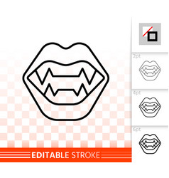 vampire fangs simple black line icon vector image