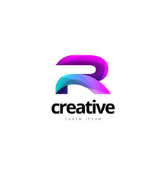 Vibrant trendy colorful creative letter r logo vector