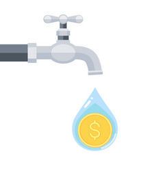 water tap with coin inside water drop isolated vector image