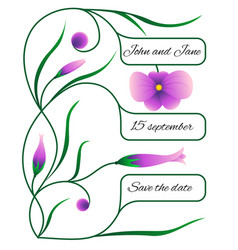 wedding invitation or card with floral pattern vector image