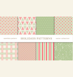 Winter holidays seamless patterns vector