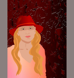 With girl in hat vector