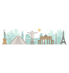 world famous landmarks and monuments banner vector image
