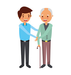 Young man with old man holding hands standing vector