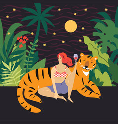 Young woman and big tiger vector