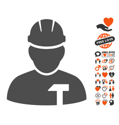 builder person icon with lovely bonus vector image