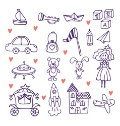 Childrens toys set of hand drawn doodle toys vector