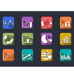 Diagram Icons Set with long shadow vector image vector image
