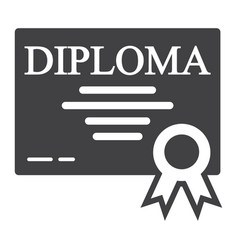 diploma solid icon education and certificate vector image