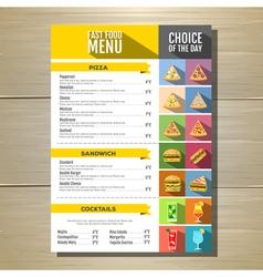 Flat style of fast food menu design vector image vector image