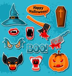 happy halloween set of cartoon holiday sticker vector image vector image