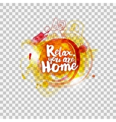Relax at home lettering on transparent vector image