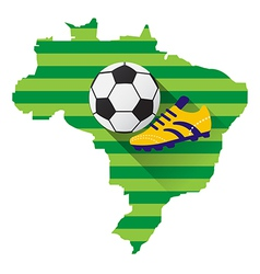 Brazil map with soccer ball vector image vector image