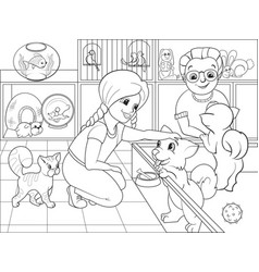 children coloring cartoon contact zoo vector image vector image