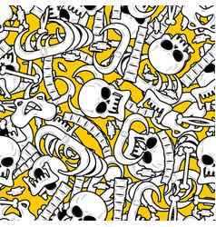 skeleton background bones seamless pattern skull vector image vector image