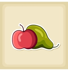 Apple and Pear icon Harvest Thanksgiving vector image