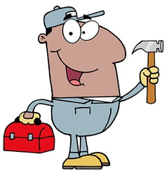 Black Repair Man With Tools vector image vector image
