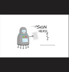 cartoon robot character with contract in hand vector image