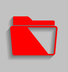folder sign red icon with vector image vector image