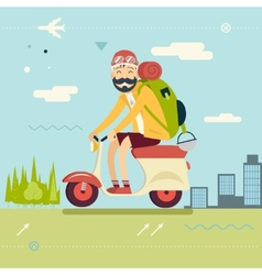 Happy Smiling Man Geek Hipster with Traveler vector image vector image