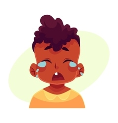 Little boy face crying facial expression vector
