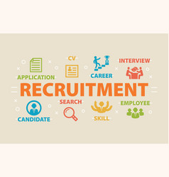 recruitment concept with icons vector image vector image