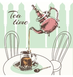 Teapot and cup tea time poster vector image